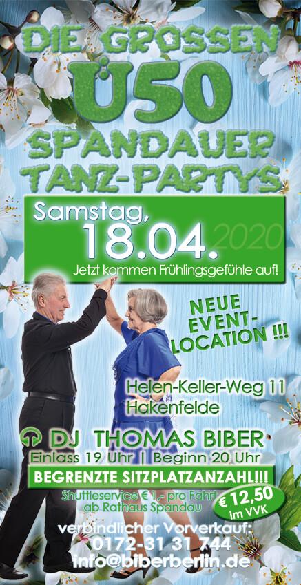 Die großen Ü50 Spandauer Tanz-Partys am 18.04.2020